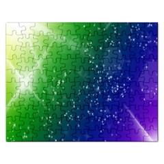Shiny Sparkles Star Space Purple Blue Green Rectangular Jigsaw Puzzl by Alisyart