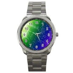 Shiny Sparkles Star Space Purple Blue Green Sport Metal Watch by Alisyart