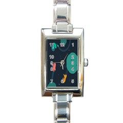 Space Illustration Irrational Race Galaxy Planet Blue Sky Star Ufo Rectangle Italian Charm Watch by Alisyart