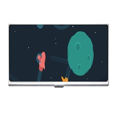 Space Illustration Irrational Race Galaxy Planet Blue Sky Star Ufo Business Card Holders by Alisyart