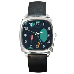 Space Illustration Irrational Race Galaxy Planet Blue Sky Star Ufo Square Metal Watch by Alisyart