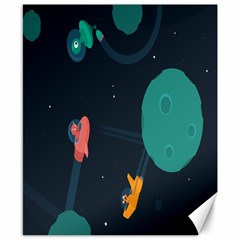 Space Illustration Irrational Race Galaxy Planet Blue Sky Star Ufo Canvas 8  X 10