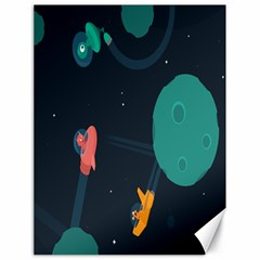 Space Illustration Irrational Race Galaxy Planet Blue Sky Star Ufo Canvas 18  X 24