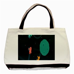 Space Illustration Irrational Race Galaxy Planet Blue Sky Star Ufo Basic Tote Bag (two Sides)