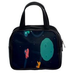 Space Illustration Irrational Race Galaxy Planet Blue Sky Star Ufo Classic Handbags (2 Sides) by Alisyart