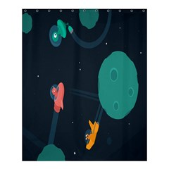 Space Illustration Irrational Race Galaxy Planet Blue Sky Star Ufo Shower Curtain 60  X 72  (medium)  by Alisyart