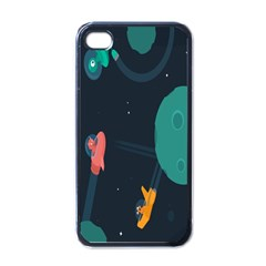 Space Illustration Irrational Race Galaxy Planet Blue Sky Star Ufo Apple Iphone 4 Case (black)