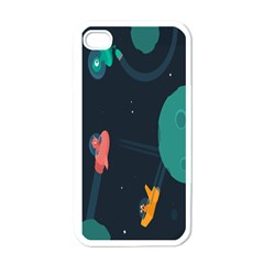Space Illustration Irrational Race Galaxy Planet Blue Sky Star Ufo Apple Iphone 4 Case (white)