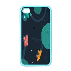 Space Illustration Irrational Race Galaxy Planet Blue Sky Star Ufo Apple Iphone 4 Case (color)