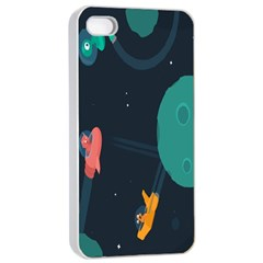 Space Illustration Irrational Race Galaxy Planet Blue Sky Star Ufo Apple Iphone 4/4s Seamless Case (white)