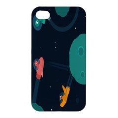 Space Illustration Irrational Race Galaxy Planet Blue Sky Star Ufo Apple Iphone 4/4s Hardshell Case