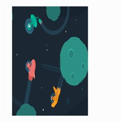 Space Illustration Irrational Race Galaxy Planet Blue Sky Star Ufo Small Garden Flag (two Sides) by Alisyart