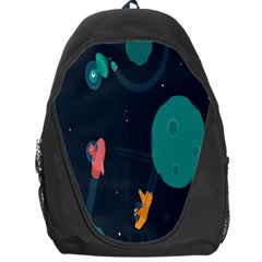 Space Illustration Irrational Race Galaxy Planet Blue Sky Star Ufo Backpack Bag by Alisyart