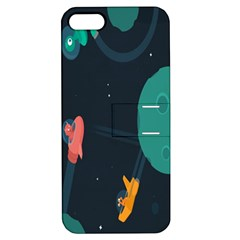 Space Illustration Irrational Race Galaxy Planet Blue Sky Star Ufo Apple Iphone 5 Hardshell Case With Stand