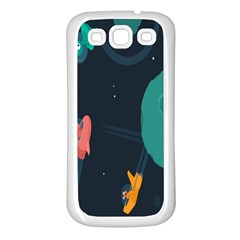 Space Illustration Irrational Race Galaxy Planet Blue Sky Star Ufo Samsung Galaxy S3 Back Case (white)