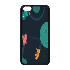 Space Illustration Irrational Race Galaxy Planet Blue Sky Star Ufo Apple Iphone 5c Seamless Case (black) by Alisyart