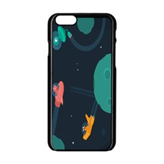 Space Illustration Irrational Race Galaxy Planet Blue Sky Star Ufo Apple Iphone 6/6s Black Enamel Case