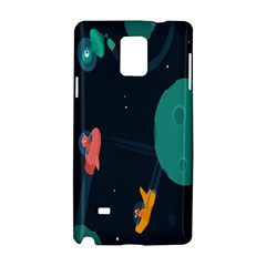 Space Illustration Irrational Race Galaxy Planet Blue Sky Star Ufo Samsung Galaxy Note 4 Hardshell Case