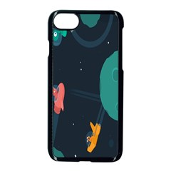Space Illustration Irrational Race Galaxy Planet Blue Sky Star Ufo Apple Iphone 7 Seamless Case (black)