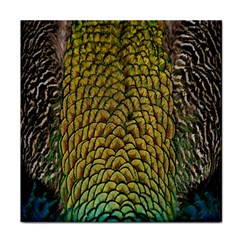 Peacock Bird Feather Gold Blue Brown Tile Coasters by Alisyart