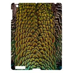 Peacock Bird Feather Gold Blue Brown Apple Ipad 3/4 Hardshell Case by Alisyart