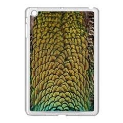 Peacock Bird Feather Gold Blue Brown Apple Ipad Mini Case (white) by Alisyart