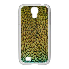 Peacock Bird Feather Gold Blue Brown Samsung Galaxy S4 I9500/ I9505 Case (white)