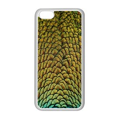 Peacock Bird Feather Gold Blue Brown Apple Iphone 5c Seamless Case (white) by Alisyart
