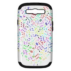 Prismatic Musical Heart Love Notes Rainbow Samsung Galaxy S Iii Hardshell Case (pc+silicone)