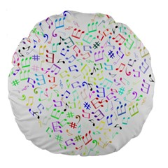 Prismatic Musical Heart Love Notes Rainbow Large 18  Premium Round Cushions