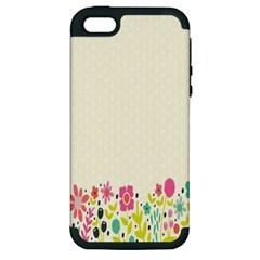Spring Floral Flower Rose Tulip Leaf Flowering Color Apple Iphone 5 Hardshell Case (pc+silicone)