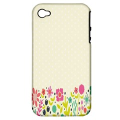 Spring Floral Flower Rose Tulip Leaf Flowering Color Apple Iphone 4/4s Hardshell Case (pc+silicone)