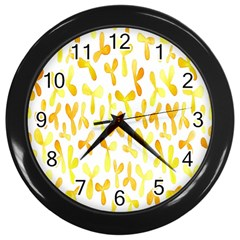 Springtime Yellow Helicopter Wall Clocks (black) by Alisyart