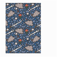 Spring Flower Floral Rose Rain Blue Grey Cloud Water Large Garden Flag (two Sides) by Alisyart