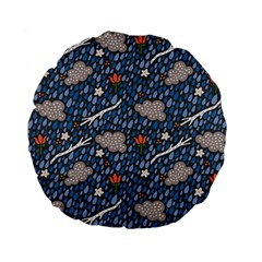 Spring Flower Floral Rose Rain Blue Grey Cloud Water Standard 15  Premium Flano Round Cushions by Alisyart