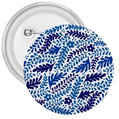Spring Flower Leaf Blue 3  Buttons by Alisyart