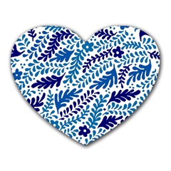 Spring Flower Leaf Blue Heart Mousepads by Alisyart