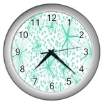 Spring Floral Green Flower Wall Clocks (Silver)  Front