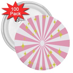 Star Pink Hole Hurak 3  Buttons (100 Pack)