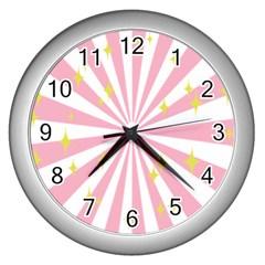 Star Pink Hole Hurak Wall Clocks (silver)