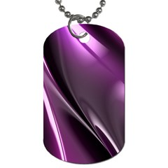 Purple Fractal Mathematics Abstract Dog Tag (One Side) by Amaryn4rt