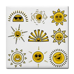 Sun Expression Smile Face Yellow Tile Coasters