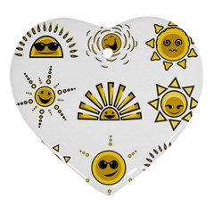 Sun Expression Smile Face Yellow Ornament (heart) by Alisyart