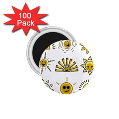 Sun Expression Smile Face Yellow 1 75  Magnets (100 Pack)  by Alisyart
