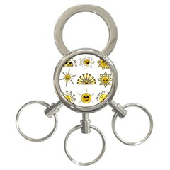 Sun Expression Smile Face Yellow 3 Ring Key Chains by Alisyart