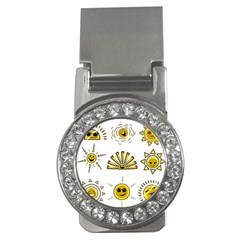 Sun Expression Smile Face Yellow Money Clips (cz)  by Alisyart