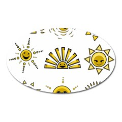Sun Expression Smile Face Yellow Oval Magnet