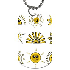 Sun Expression Smile Face Yellow Dog Tag (one Side) by Alisyart