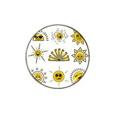 Sun Expression Smile Face Yellow Hat Clip Ball Marker by Alisyart