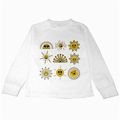 Sun Expression Smile Face Yellow Kids Long Sleeve T Shirts by Alisyart
